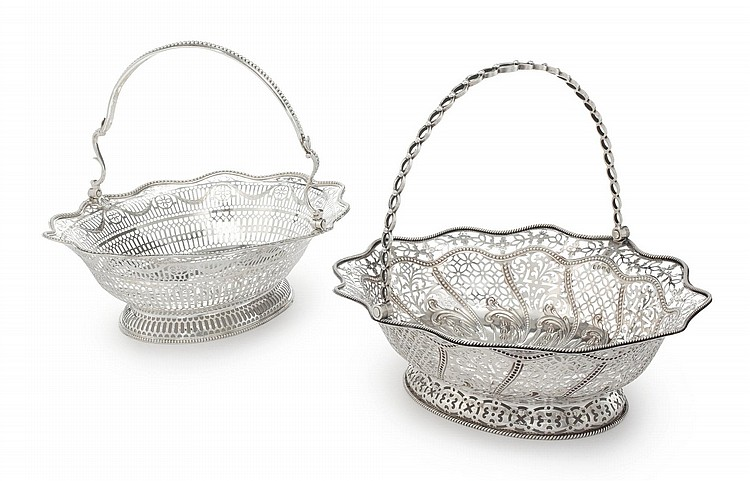 TWO SIMILAR GEORGE III SILVER BREAD BASKETS, WILLIAM PLUMMER, LONDON, 1773/74 |