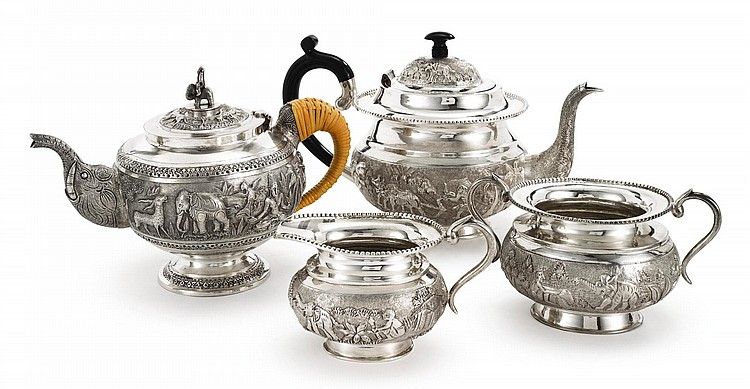 AN INDIAN SILVER THREE-PIECE TEA SET, BHATTER & CO., KOLKATA, 20TH CENTURY |