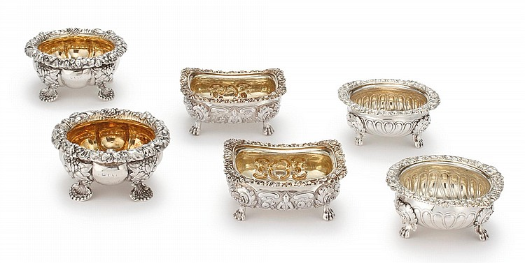 THREE PAIRS OF REGENCY SILVER SALTS, LONDON AND NEWCASTLE, 1811/19/20 |
