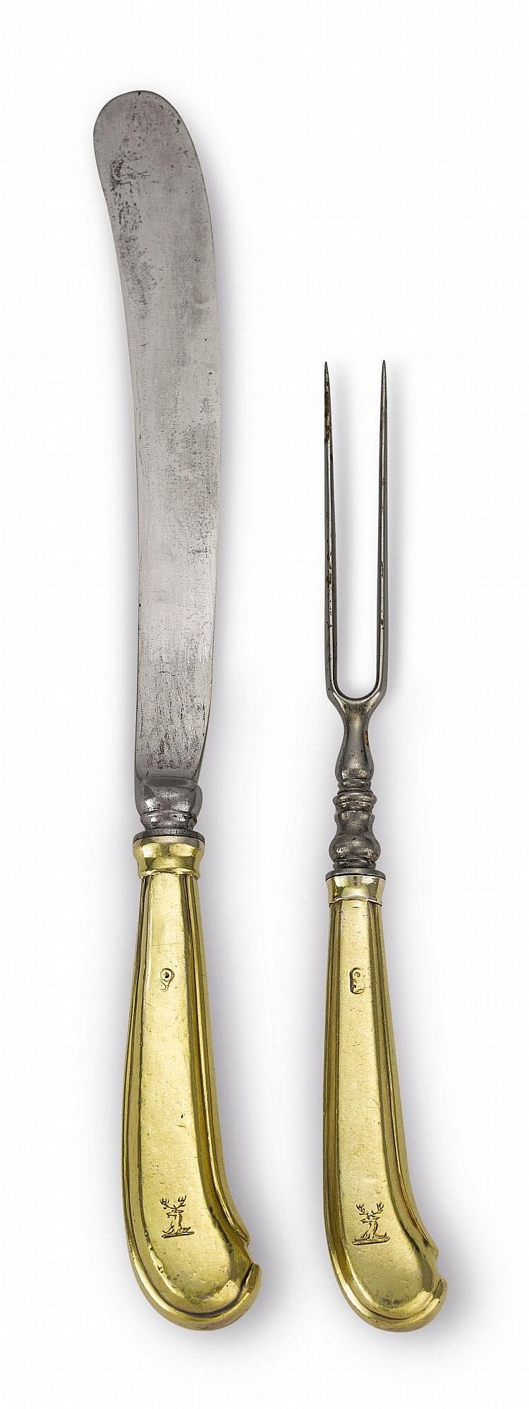 SIX QUEEN ANNE OR GEORGE I SILVER-GILT CHEESE KNIVES AND SIX TWO-PRONG FORKS, MAKER'S MARK GA, CIRCA 1710 |