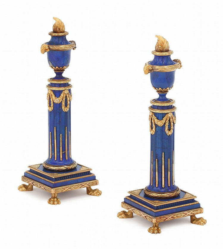 A PAIR OF LOUIS XVI STYLE LAPIS LAZULI, THREE-COLOR GOLD, AND GILT-METAL ORNAMENTS, CIRCA 1900 |