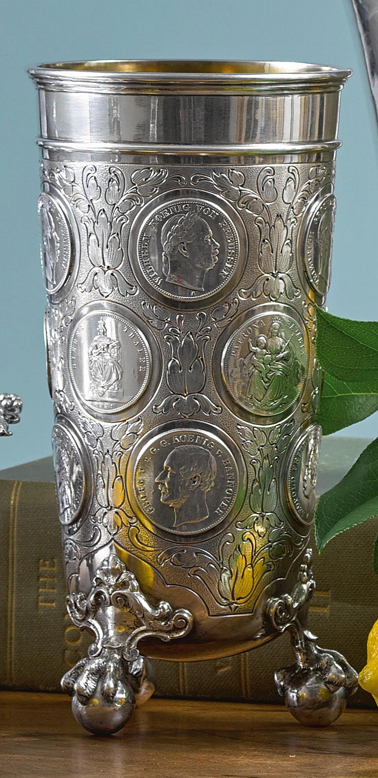 A GERMAN SILVER COIN-MOUNTED BEAKER, FRIEDLANDER, BERLIN, EARLY 20TH CENTURY |