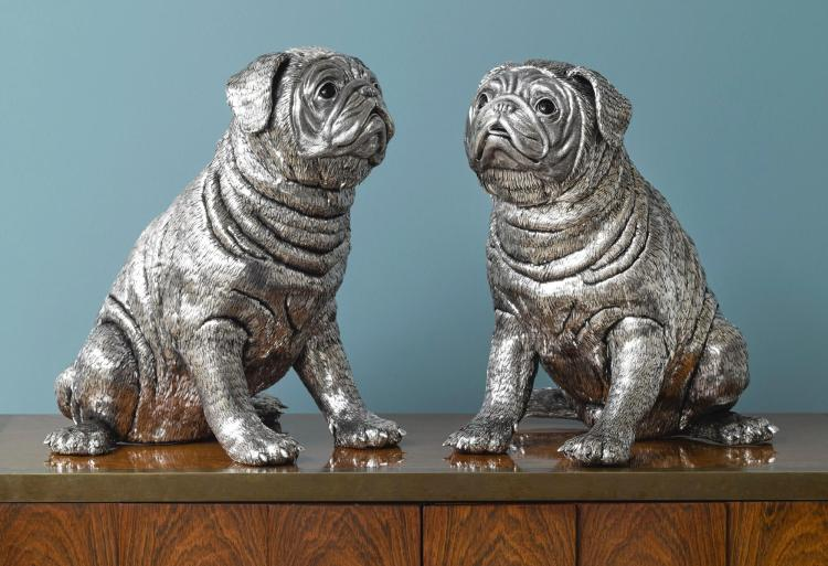 A PAIR OF ITALIAN SILVER PUG-FORM WINE COOLERS, 20TH CENTURY |
