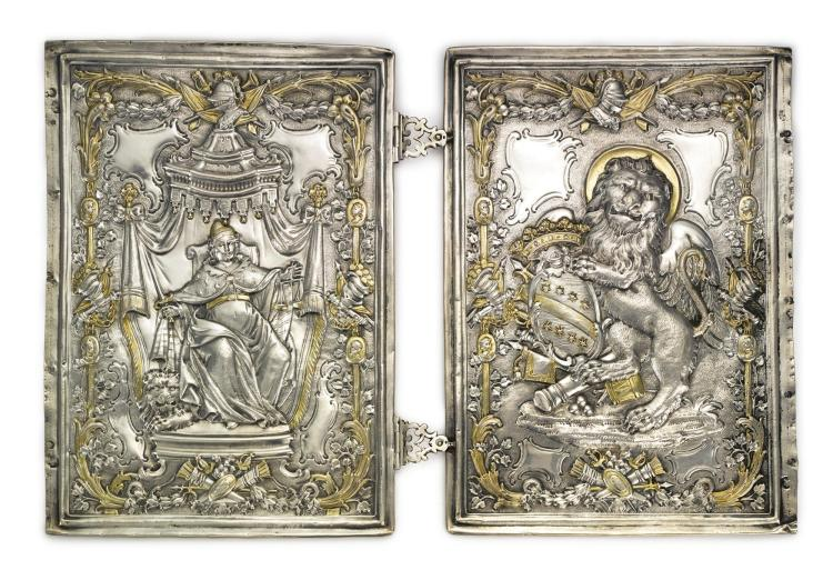 A PAIR OF ITALIAN PARCEL-GILT SILVER EMBOSSED BOOK COVERS, VENICE, EARLY 18TH CENTURY |