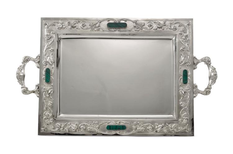 AN ITALIAN SILVER TWO-HANDLED TRAY MOUNTED WITH MALACHITE, LUIGI CERVONE, MILAN, LATE 20TH CENTURY |