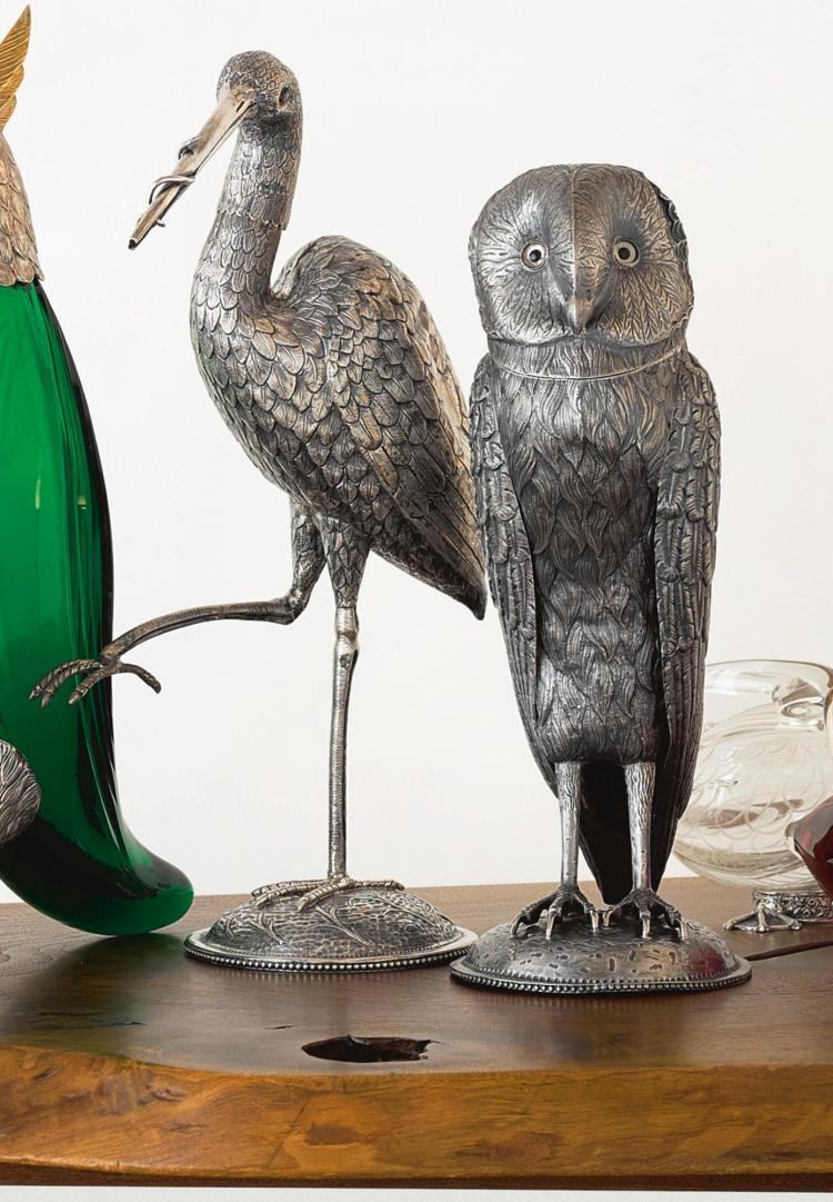 TWO DUTCH SILVER BIRD-FORM DECANTERS, 1902 AND 1904 |
