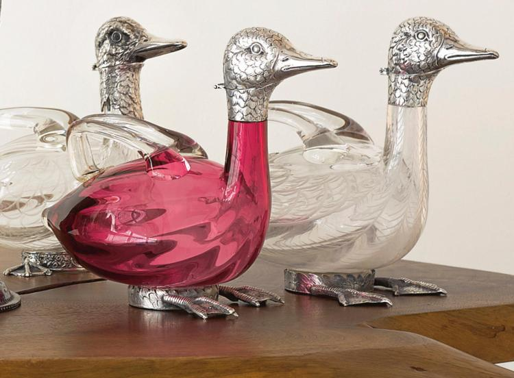THREE GERMAN SILVER-MOUNTED GLASS DUCK-FORM DECANTERS, HANAU, FIRST HALF 20TH CENTURY |