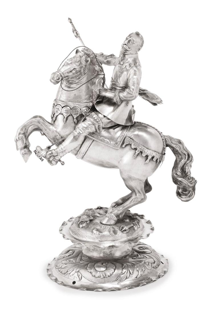 A GERMAN SILVER FIGURE OF GUSTAVUS ADOLPHUS ON HORSEBACK, PROBABLY HANAU, LATE 19TH CENTURY |