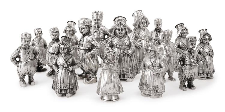 A GROUP OF SIXTEEN GERMAN AND DUTCH SILVER FIGURAL SALT AND PEPPER SHAKERS, EARLY 20TH CENTURY |