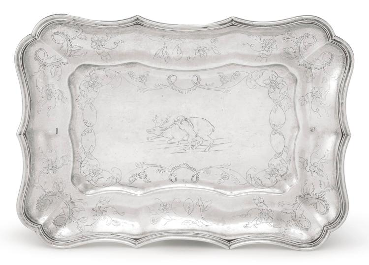 A SPANISH COLONIAL SILVER LARGE DISH, MIGUEL GUERRA, GUATEMALA, LATE 18TH CENTURY |