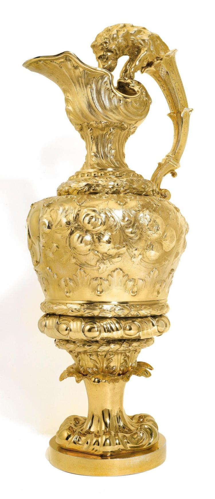 A LARGE VICTORIAN SILVER-GILT EWER, C. T. & G. FOX, LONDON, 1845, PROBABLY RETAILED BY LAMBERT & RAWLINGS OF COVENTRY STREET |
