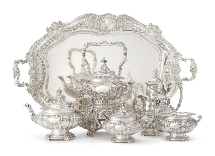 AN AMERICAN SILVER SIX-PIECE TEA AND COFFEE SET WITH MATCHING TRAY, GORHAM MFG. CO., PROVIDENCE, RI, RETAILED BY THEODORE B. STARR, NY, 1883 |