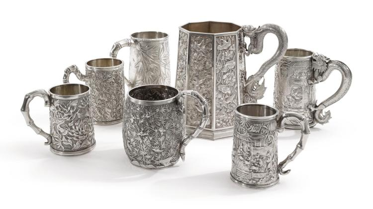 A GROUP OF SEVEN CHINESE EXPORT SILVER MUGS, LATE 19TH CENTURY |