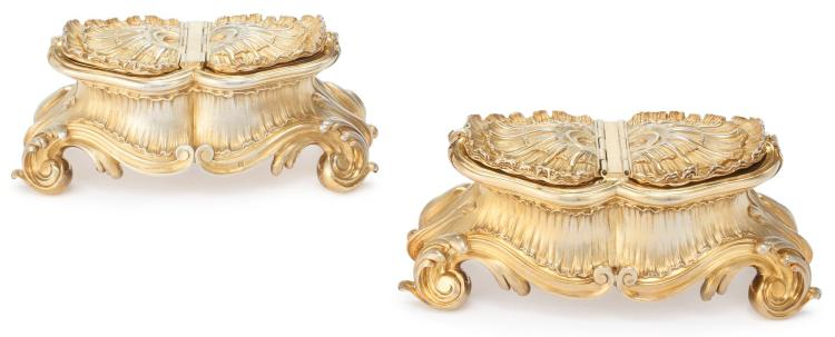 A PAIR OF FRENCH SILVER-GILT LARGE DOUBLE SPICE BOXES, MAISON ODIOT, PARIS, CIRCA 1900 |