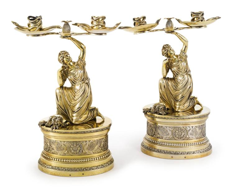 A PAIR OF GERMAN SILVER-GILT FIGURAL TWO-LIGHT CANDELABRA, FRIEDRICH JAKOB BILLER, AUGSBURG, 1810 |