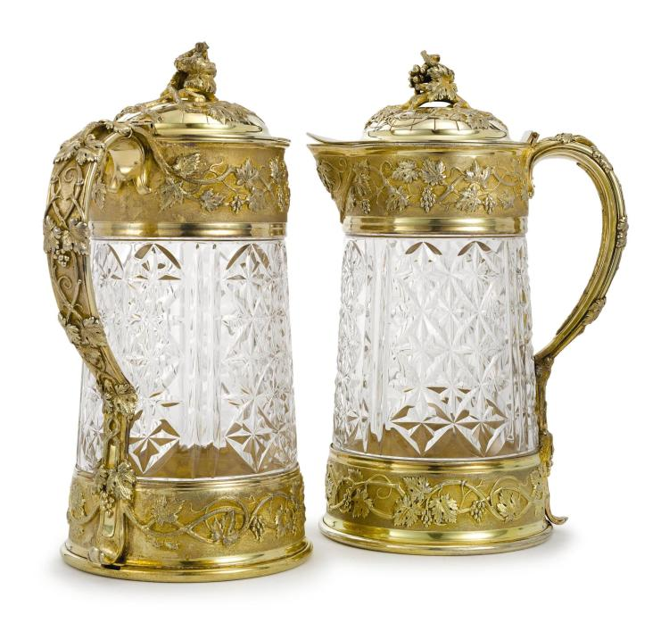 A PAIR OF FRENCH SILVER-GILT MOUNTED CUT-GLASS CLARET JUGS, MAISON ODIOT, PARIS, LATE 19TH CENTURY |