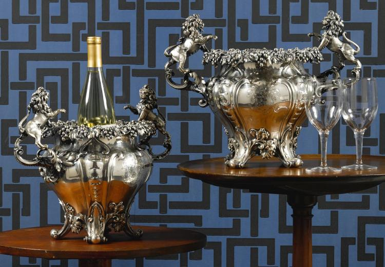A PAIR OF VICTORIAN SILVER WINE COOLERS, JOHN MORTIMER & JOHN SAMUEL HUNT, LONDON, 1840 |