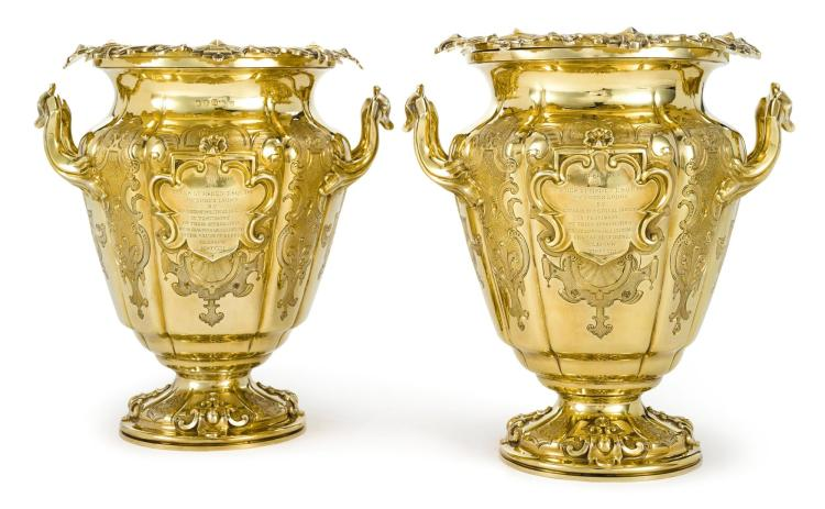 A PAIR OF SCOTTISH SILVER-GILT PRESENTATION WINE COOLERS, ROBERT GRAY & SON, GLASGOW, 1841 |