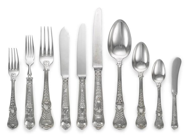 AN ASSEMBLED REGENCY AND LATER SILVER COBURG PATTERN FLATWARE SERVICE, PAUL STORR, LONDON AND C. J. VANDER LTD., SHEFFIELD, 1817-18 AND 1980-81 |