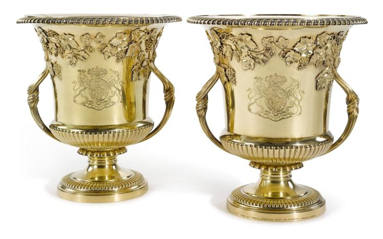 A PAIR OF REGENCY SILVER-GILT WINE COOLERS, PHILIP RUNDELL FOR RUNDELL, BRIDGE & RUNDELL, LONDON, 1819 |