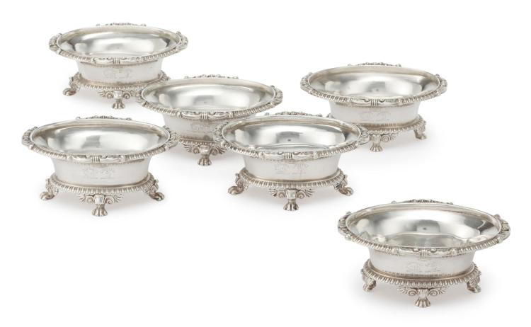 A SET OF SIX GEORGE III SILVER SALTS, PAUL STORR, LONDON, 1806 |