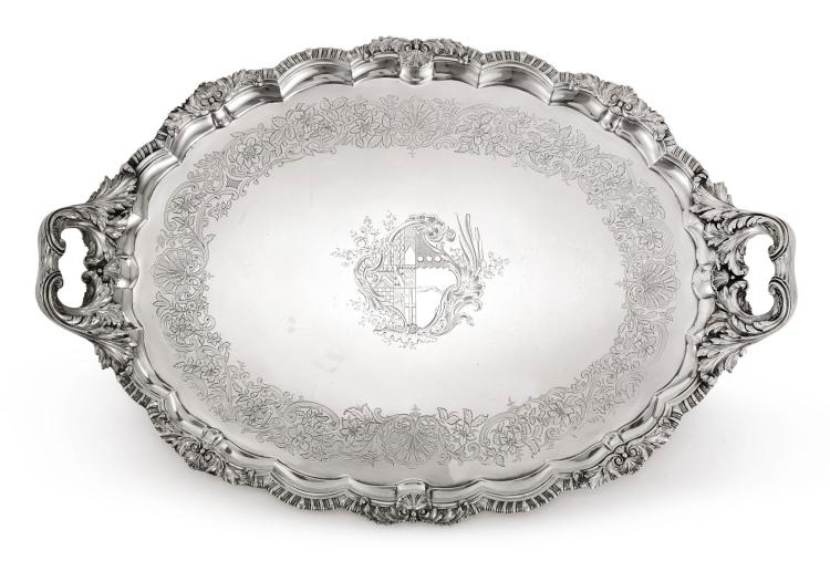 A GEORGE IV SILVER TWO-HANDLED TRAY, PAUL STORR, LONDON, 1823 |