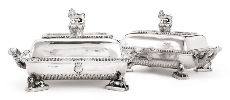 A PAIR OF GEORGE IV SILVER ROYAL DUCAL ENTRÉE DISHES AND COVERS, PHILIP RUNDELL, LONDON, 1820 |
