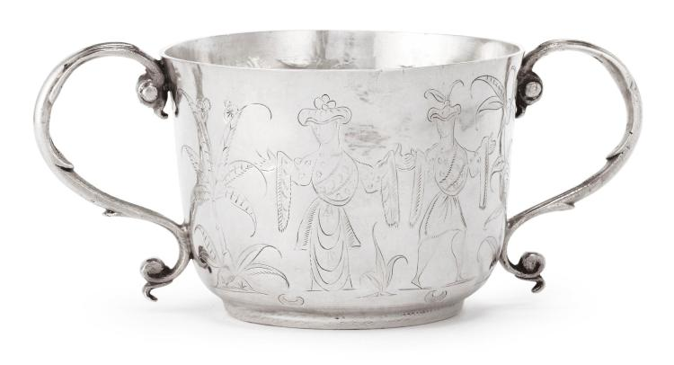 A JAMES II SILVER CHINOISERIE TWO-HANDLED CUP, MAKER'S MARK SH LINKED (JACKSON, P. 137), LONDON, 1685 |