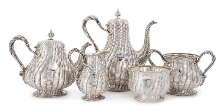 A VICTORIAN SILVER FIVE-PIECE TEA AND COFFEE SET, ROBERT HENNELL II, LONDON, 1860/65/73 |