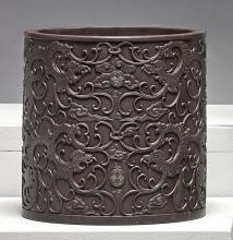 A 'DUAN' STONE BRUSHPOT<BR> LATE QING DYNASTY / 20TH CENTURY |