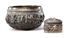 SILVER REPOUSSE BOWL AND COVERED BOX  THAILAND, LATE 19TH CENTURY |