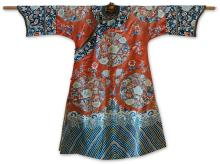 A LADY'S CORAL-GROUND EMBROIDERED SILK ROBE<BR> QING DYNASTY, 19TH CENTURY |