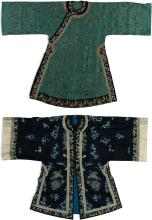 TWO EMBROIDERED SILK LADY'SGARMENTS<BR> LATE QING DYNASTY |