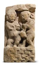 A SANDSTONE STELE DEPICTING TWO GANAS NORTH CENTRAL INDIA, GUPTA PERIOD, 5TH / 6TH CENTURY |