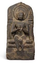 A PHYLLITE STELE DEPICTING SEATED BUDDHA EASTERN INDIA, PALA PERIOD, CIRCA 9TH CENTURY |