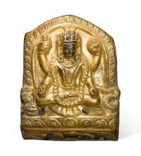 A GILT-COPPER REPOUSSÉ PLAQUE DEPICTING VISHNU NEPAL, CIRCA 16TH CENTURY |