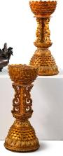 A PAIR OF GILT-LACQUEREDCARVED WOOD ALTAR EMBLEM STANDS<BR> QING DYNASTY, 19TH CENTURY |