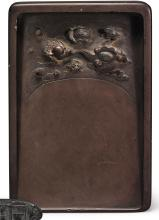 A LARGE INSCRIBED 'DUAN'INKSTONE<BR> QING DYNASTY, 18TH / 19TH CENTURY |