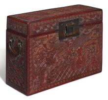 A RED-LACQUERED CARVED WOOD DOCUMENT BOX<BR> MING DYNASTY, 16TH CENTURY |