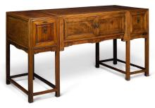 A 'HUANGHUALI' THREE-PART DESK<BR> LATE QING DYNASTY |