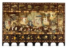 A COROMANDEL LACQUER EIGHT-PANEL 'HUNDRED BOYS' SCREEN<BR> QING DYNASTY, 19TH CENTURY |