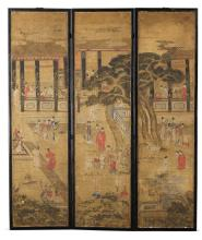 A THREE-PANEL PAINTED SCREEN<BR> QING DYNASTY, 19TH CENTURY |