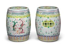 A PAIR OF FAMILLE-ROSE 'DRAGON AND PHOENIX' GARDEN STOOLS<BR> 19TH / 20TH CENTURY  