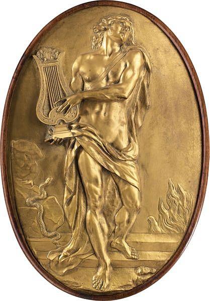 Paire de médaillons en bronze doré représentant Orphée jouant la lyre et Hercule enchaînant Cerbère, France, début XIX e siècle, d'après un modèle d'Augustin Pajou (1730-1809) , A French early 19th century pair of giltbronze medallions of Orpheus and