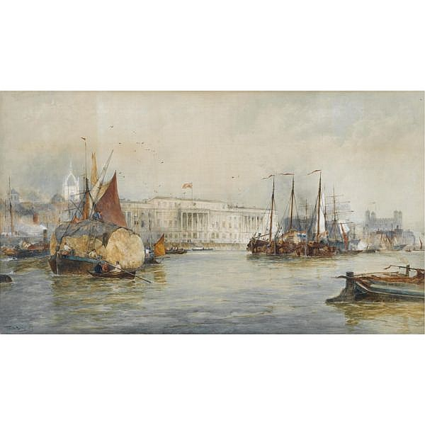 Thomas Bush Hardy R.B.A. 1842-1897 , Her Majesty's Customs, London watercolour