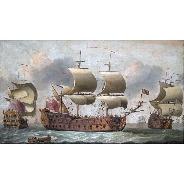 Isaac Sailmaker 1633-1721 , A 64-gun man-of-war in three positions oil on canvas
