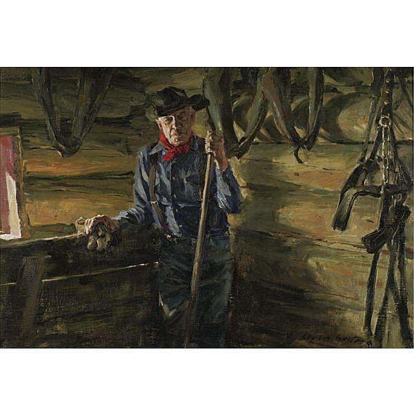 Loren Entz b. 1949 , Jack oil on canvas laid down on masonite