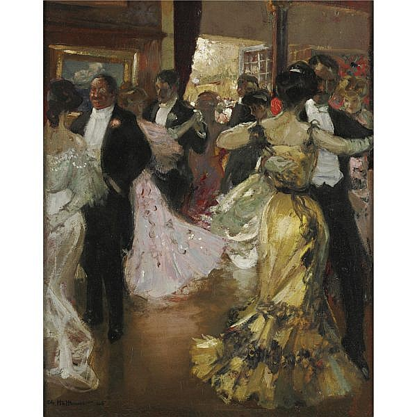 Charles Hoffbauer 1875-1957 , At the Ball oil on canvas