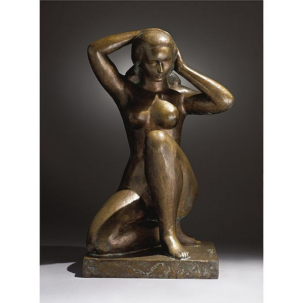 William Zorach 1887-1966 , Seated Nude bronze, light brown patina