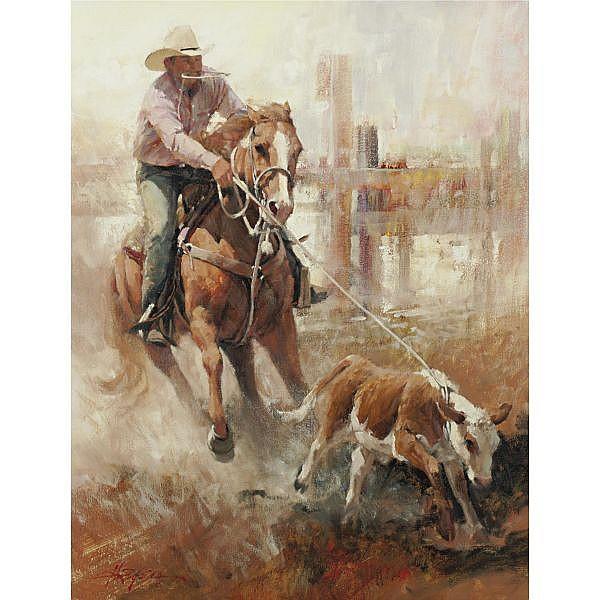 Howard Rogers b. 1932 , Calf-Roping oil on canvas